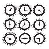 手拉的时钟传染媒介象设置了例证 免版税图库摄影