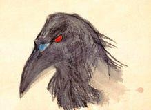 手拉的明亮的黑色rawen与红色眼睛的鸟在中立背景 向量例证