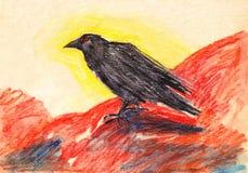 手拉的明亮的黑色rawen与红色眼睛的鸟在红色背景 库存例证