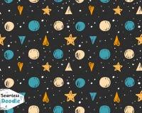 手拉的星、三角和心脏乱画无缝的样式 免版税库存图片