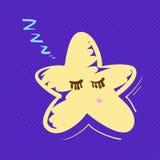 手拉的星睡觉例证 免版税库存图片
