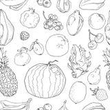 手拉的果子无缝的样式 健康食物传染媒介背景 库存例证