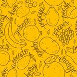 手拉的果子无缝的样式 横幅、网站,菜单设计,包装,厨师书或者广告的传染媒介例证 库存例证