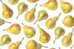 手拉的梨样式 免版税库存图片