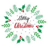 手拉的植物的框架 在圣诞快乐卡片上写字的手 免版税库存照片