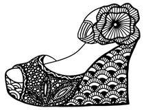 手拉的楔子鞋子例证 免版税库存照片