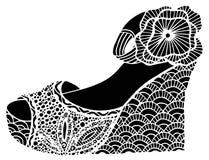 手拉的楔子鞋子例证 免版税图库摄影