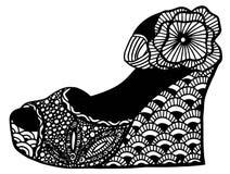 手拉的楔子鞋子例证 图库摄影