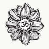 手拉的欧姆标志,印地安人屠妖节精神标志Om 莲花 高详细的装饰传染媒介例证 库存照片