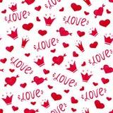 手拉的水彩例证 与心脏和翼的逗人喜爱的无缝的样式 免版税库存图片