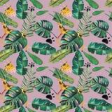 手拉的水彩无缝的样式 绿色热带叶子和野生动物 皇族释放例证
