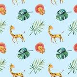 手拉的水彩无缝的样式 绿色热带叶子和野生动物 向量例证
