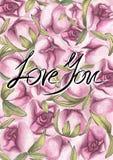 手拉的水彩桃红色牡丹花和文本 库存例证