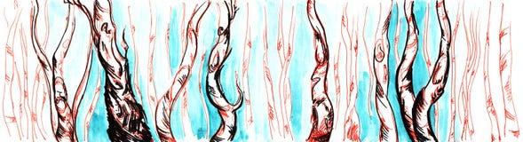 手拉的水彩桦树树干和天空全景 库存例证