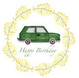 手拉的水彩男孩汽车汇集绿色任黄色 皇族释放例证