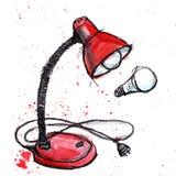 手拉的水彩红色灯 库存例证