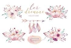 手拉的水彩绘画充满活力的百花香 在白色隔绝的Boho样式玫瑰色花例证 设计 库存例证