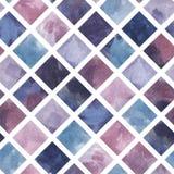 手拉的水彩绘画,紫罗兰色背景,彩色玻璃的菱形无缝的样式 皇族释放例证