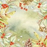 手拉的水彩花卉绿色背景 免版税库存图片