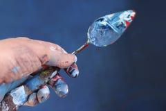 手拉的油画 抽象派背景 在画布的油画 颜色纹理 艺术品的片段 油漆斑点  巴鲁斯 免版税库存照片