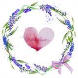 手拉的淡紫色花圈子  库存例证