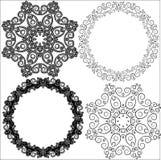 手拉的漩涡的一个圆样式 向量例证