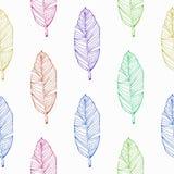 手拉的热带香蕉colorfull叶子无缝的样式传染媒介 向量例证