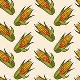 手拉的玉米棒子无缝的样式 库存照片