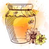 手拉的瓶子蜂蜜、花和蜂 也corel凹道例证向量 桔子和黄色飞溅 免版税库存照片