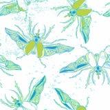 手拉的甲虫无缝的样式 能为为postcar使用 免版税库存图片