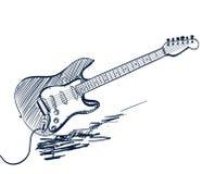 手拉的电吉他 免版税图库摄影