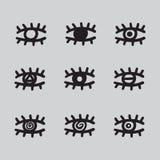 手拉的眼睛黑白被设置的传染媒介的例证 免版税库存照片
