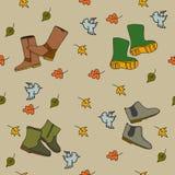 手拉的秋天无缝的样式 库存照片