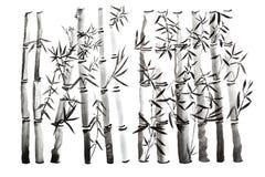 手拉的竹叶子和分支集合,墨水绘画 传统干燥书法刷子绘画 背景查出的白色 图库摄影
