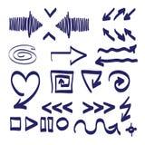 手拉的箭头传染媒介集合例证 免版税库存照片