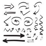 手拉的箭头传染媒介集合例证 免版税库存图片