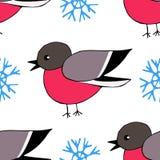 手拉的红腹灰雀和雪花无缝的样式 库存照片