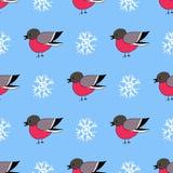 手拉的红腹灰雀和雪花蓝色滑稽的无缝的样式 库存照片