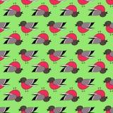 手拉的红腹灰雀鲜绿色的无缝的样式 图库摄影