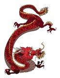 手拉的红色在白色背景的龙日本纹身花刺样式 向量例证