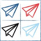 手拉的纸飞机 也corel凹道例证向量 免版税库存照片