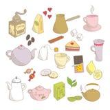 手拉的线性速写的茶和咖啡具 向量例证