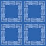 手拉的织地不很细在几何设计的刷子冲程白方块 在蓝色背景的无缝的传染媒介样式 ?? 库存例证