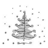 手拉的美丽的圣诞树 图库摄影