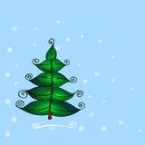 手拉的美丽的圣诞树 免版税库存照片