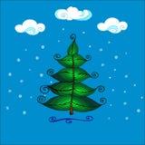 手拉的美丽的圣诞树 库存照片