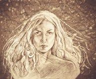手拉的美丽的少妇画象 方式妇女 逗人喜爱的女花童 绘画 库存照片