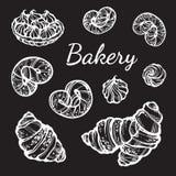 手拉的美妙地小圆面包收藏 导航面包店象,葡萄酒在黑板在线性样式的食物元素隔绝的 向量例证