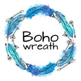 手拉的羽毛花圈与boho样式的 库存例证