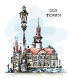 手拉的老镇 美好的镇视图 老结构 Ð ¡犹特人大厦、葡萄酒灯笼和海湾 草图 美好的横向 库存例证